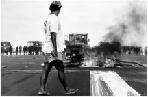 Anti French Nuclear Testing Riots, Papeete Airport, Tahiti, 1995.